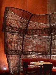 Nobu Dubai restaurant, Dubai UAE designed by Rockwell Group Nobu Restaurant, Restaurant Lounge, Bar Lounge, Restaurant Interior Design, Restaurant Interiors, Marsala, Pantone, Rockwell Group, Dark Interiors