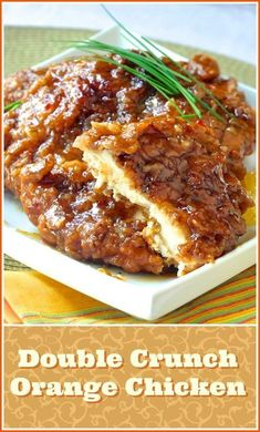 This very inviting crispy orange chicken recipe is… Double Crunch Orange Chicken. This very inviting crispy orange chicken recipe is an outstanding variation of our Double Crunch Honey Garlic Chicken recipe. Crispy Orange Chicken Recipes, Garlic Chicken Recipes, Honey Garlic Chicken, Breaded Chicken, Crispy Chicken, Recipe Chicken, Butter Chicken, Healthy Chicken, Fried Chicken Breast