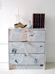 Wrap it in newspaper | 99 Clever Ways To Transform A Boring Dresser