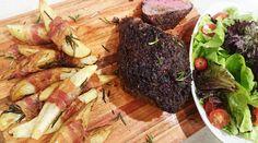 Picaña especiada al horno con papas envueltas en panceta