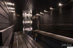 sauna,kiuas,musta,kiviseinä,led,led-valot Palembang, Saunas, Wellness Spa, Blinds, Led, Sweet Home, Relax, Inspiration, Image