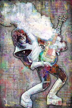 Ace Frehley Print, Ace Frehley Artwork, Ace Frehley Tribute Art, Ace Frehley Poster for KISS Fans John Mayer Poster, Heavy Metal, Kiss Art, Random Gif, Ace Frehley, Hot Band, Star Children, Best Rock, Rock Legends