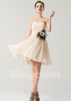 Knee Length Chiffon A-line White Fuchsia Blue Flower Ruched Strapless Sleeveless Homecoming / Bridesmaid  Dresses
