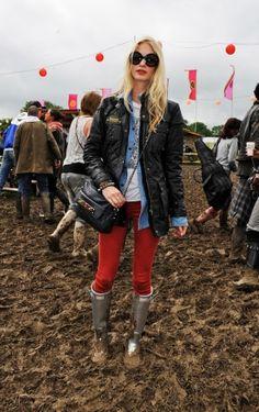 Poppy Delevingne at Glastonbury--Barbour jacket
