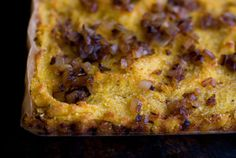 Favorite Cornbread recipe, which I sometimes tweak by putting veggies in the batter and mushrooms on top with the onions.