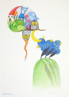 raffaelladivaio*illustrazione e creatività: SOTTOSOPRA stamattina mi sono svegliata così: SOTTOSOPRA acquerello su carta Arches 300 gr, cm. 32x24 ©raffaelladivaio.com