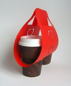 Two-cup carrier // couples gift idea with coffee gift cards in empty cups
