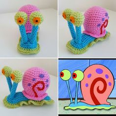Crochet Gary the Snail from SpongeBob SquarePants Crochet Snail, Pokemon Crochet Pattern, Crochet Patterns Amigurumi, Crochet Animals, Crochet Toys, Knit Crochet, Spongebob Squarepants Toys, Crochet Projects, Sewing Projects