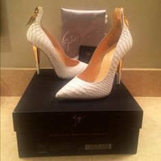 Cyber Monday sale ⚡️Giuseppe Zannoti pumps Finally parting with these  they are too small and have never been worn but are just so gorgeous I couldn't seem to let them go!  (...I'm now on a mad hunt for them in my correct size anyone has in a size 37-38 I would love to trade or buy in a heartbeat!) they are size 6.5 pretty true to size, gorgeous croc with gold details! They are sold out and near impossible to find. Giuseppe Zanotti Shoes Heels