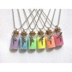 """DoubleSided Fairy Charm Fairy Dust NECKLACE / Mini Glass Bottle on 26""""... ($9.25) ❤ liked on Polyvore featuring jewelry, necklaces, star jewelry, glass charms, glass jewelry, long chain necklace and mini charms"""