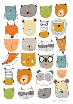 Animal faces print Wall art - wall art - Children's prints - Children's wall art - Children's Illustration - Salley Payne artwork available on Etsy. Art And Illustration, Illustration Mignonne, Animal Illustrations, Illustrations Posters, Pattern Illustrations, Illustration Children, Wallpaper Gratis, Doodle Art, Illustrators
