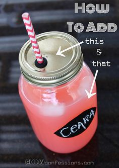 How to make a straw hole in a mason jar (I love my mason jars! I always reuse them as cups so this could come in handy for the accident-prone like me!)