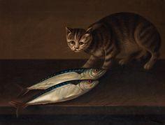 William Jones of Bath, A cat with two fish. Найдено на сайте bukowskis