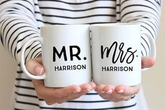 The joy of marriage- be one of the first to celebrate your friends shared last name! Celebrate your loved ones with this special mug set. Perfect for a wedding shower or wedding day gift! _______________________________________  Details: 2 Mugs: (1) Mr. (1) Mrs. Size: 11 oz or 15 oz Material: White Ceramic mug Imprint: both sides as shown above Double-sided design Your mug will be very carefully packaged with love and shipped via USPS or FedEx!  Best part? Imprint wont scratch off and is…