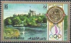 Sello: Windsor Castle, Great Britain (Ras al Khaima) (Summer Olympics 1972, Munich: Fam. buildings diff. countries) Mi:RK 761A