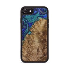 Iphone 8, Apple Iphone, Natural Accessories, Wood Resin, Tempered Glass Screen Protector, Handmade Wooden, Indiana, Dark Blue, Carving