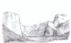 Crosshatching Landscape Step-by-Step- Yosemite Valley - John Muir Laws Landscape Steps, Landscape Sketch, Landscape Drawings, Cool Landscapes, Art Drawings, Fantasy Landscape, Pencil Drawings, Art Sketches, Contour Line Drawing