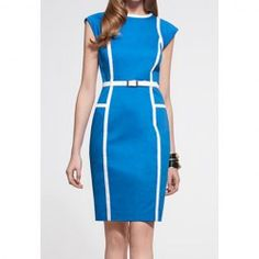 $8.79 Color Block Round Neck Sleeveless Noble Style Polyester Dress For Women