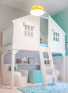 Tree house bed with reading nook underneath. Tree House Bed via House of Turquoise and other totally cool kids bedrooms Dream Rooms, Dream Bedroom, Bedroom Wall, Pretty Bedroom, Bedroom Rugs, Comfy Bedroom, Bedroom Storage, Uni Bedroom, Magical Bedroom