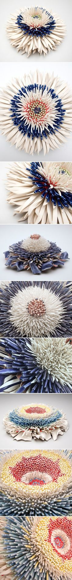 ceramic flowers by zemer peled
