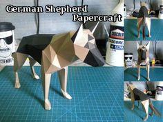 Animal Paper Model - German Shepherd Free Dog Papercraft Download