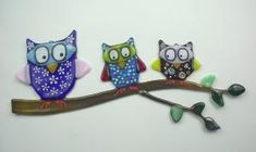 Fused Glass Owl Family Suncatcher, Wall Art. by eve