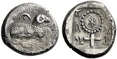 """Silver stater from Salamis, Cyprus, c. 445-411 BC, This extremely rare coin minted under an uncertain king shows a recumbent ram with a pellet-in-crescent above, """"Euelthon"""" in Cypriot around. The reverse shows a large ornate ankh enclosing Cypriot..."""