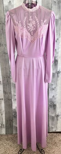 Vintage 1960s Maxi Dress Gown Lace Mod Boho Edwardian Purple Long Sleeve Small #Unbranded #GownEdwardian