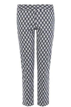 WAREHOUSE | Floral geo print trousers in blue | 97% Cotton, 3% Elastane | mid-rise, regular fit and floral geo print | £36