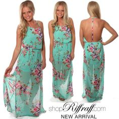 This Darling Floral Maxi Dress has a strappy halter neckline with an open t-back. #FREESHIPPING