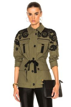 Image 1 of Veronica Beard Heritage Utility Jacket with Lace in Army Green,Image 1 of Veronica Beard Heritage Utility Jacket with Lace in Army Green Great ideas for beautiful embroidery By embroidering lovely styles, small re. Boohoo Outfits, Elisa Cavaletti, Mode Costume, Mode Jeans, Beige Coat, Lace Jacket, Veronica Beard, Embroidered Jacket, Brown Jacket