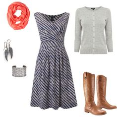 like this modest dress with boots. Good for teaching high schoolers! Work Fashion, Modest Fashion, Fashion Outfits, Fashion Tips, Fall Outfits, Cute Outfits, Work Outfits, Teaching Outfits, Work Attire