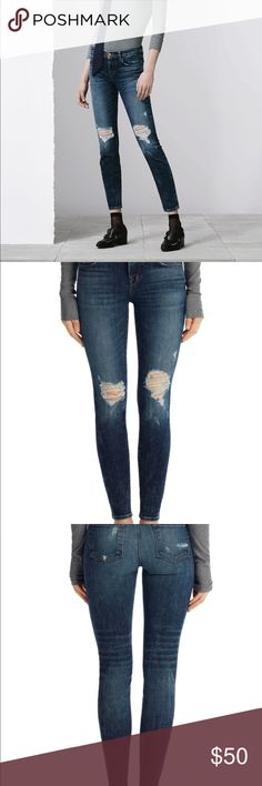 J Brand 620 MID-RISE SUPER SKINNY IN DARK EROSION A comfort stretch azure blue denim has heavy fading and whiskers for a well-worn look. Contrasting seaming. Brushed copper shank.  620T178 DETAILS Super Skinny Mid-Rise 9.75-inch Leg Opening 30-inch Inseam 8-inch Rise 11.5-Ounce Indigo Slub Comfort Stretch 98% Cotton, 2% Elastane Designed in the USA Size 29 Worn 2 times. NWOT. J Brand Jeans Skinny