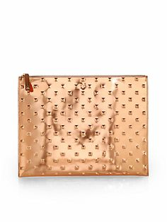 saks fifth avenue LARGE ROSE GOLD METALLIC ALLOVER STUD POUCH #gold #pouch #metallic #stud