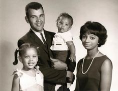 "A young Vanessa Williams with her parents, Milton and Helen Williams and younger brother, Chris (who is also an actor). Prophetically, Vanessa's parents put ""Here she is: Miss America"" on her birth announcement. Helen Williams, Vanessa Williams, Black White, Black Love, White Man, Black Is Beautiful, Interracial Family, Vintage Black Glamour, Black Celebrities"