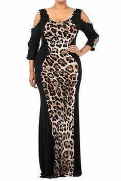 PLUS WOMEN BLACK BROWN ANIMAL LEOPARD HOURGLASS CUT OUT MERMAID MAXI DRESS 1X