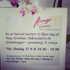 Åpen dag på Anyu klinikken i Lørenskog, onsdag 17. september kl 15.30 - 19.00 Open day in Anyu klinikken in Lørenskog, Norway, wednesday september 17.th. www.anyu.no