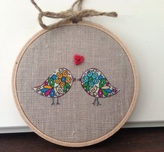 Lovebirds hoop art - bird wall decor - ready to ship