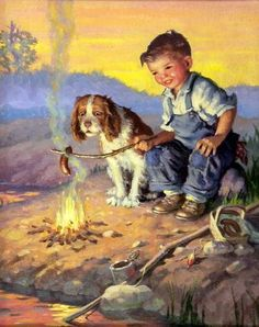 """""""At The Campfire"""" by Raymond James Stuart Love the glow in the cheeks Vintage Pictures, Vintage Images, Art Pictures, Vintage Art, James Stuart, Raymond James, Applis Photo, Western Art, Animals For Kids"""