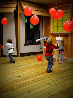 Ninja training! Hang balloons up (these are the bad guys!) and let them whack away. Fun party activity