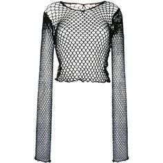 Junya Watanabe Comme Des mesh fitted top ($195) ❤ liked on Polyvore featuring tops, black, mesh top, tailored tops, fitted tops and junya watanabe comme des garçons