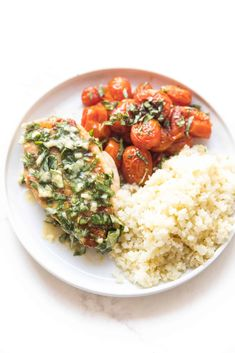 Keto Skillet Chicken + Tomatoes with Basil Butter Recipe + Video - 3 carbs! A low carb chicken dinner with blistered tomatoes and a lemon basil butter. Made on your grill or in the oven. Paleo, gluten free, grain free, dairy free, sugar free, clean eating, real food. #keto #lowcarb #whole30 Whole 30 Recipes, Real Food Recipes, Keto Recipes, Healthy Recipes, Basil Butter Recipe, Grain Free, Dairy Free, Gluten Free, Chicken Recipes With Tomatoes