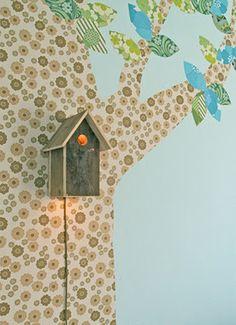 Cool kids room idea, birdhouse nightlight. Kids room? I like it too! without the tree