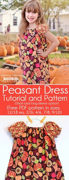 Free Peasant Dress Pattern: use this tutorial and free printable pdf pattern to learn how to make a simple peasant dress.  (Printable pattern available in sizes 12 months to 10.) (long and short sleeves.)