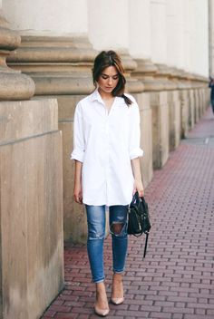 spring / summer - street chic style - street style - summer outfits - casual outfits - distressed skinny jeans + nude stilettos + black shoulder bag + white shirt