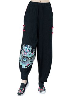 Chinese Style Elastic Waist Embroidery Stitching Color Lantern Pants - Newchic Mobile.