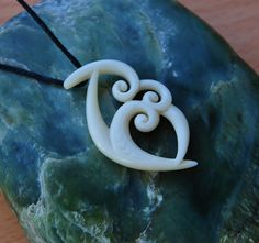 Handcarved Bone Trinity koru for Family unity & love by JackieTump on Etsy