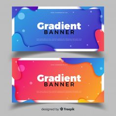Abstract banners with gradient design Free Vector - can be used for WEB DESIGN Web Design, Web Banner Design, Flyer Design, Layout Design, Banner Vector, Banner Template, Conception Photoshop, Banner Design Inspiration, Design Plano