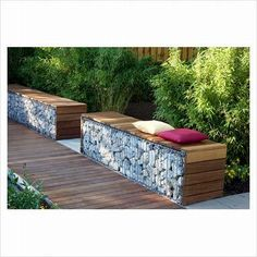 Contemporary garden seating made out of gabions- the wood softens the industrial feel a bit Garden Seating, Outdoor Seating, Outdoor Spaces, Outdoor Living, Bamboo Hedge, Gabion Wall, Garden Spaces, Backyard Landscaping, Backyard Patio