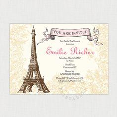 Afternoon in Paris Bridal Shower Invitation - Shower, birthday or tea party , You-Print Digital Invitation. $25.00, via Etsy.